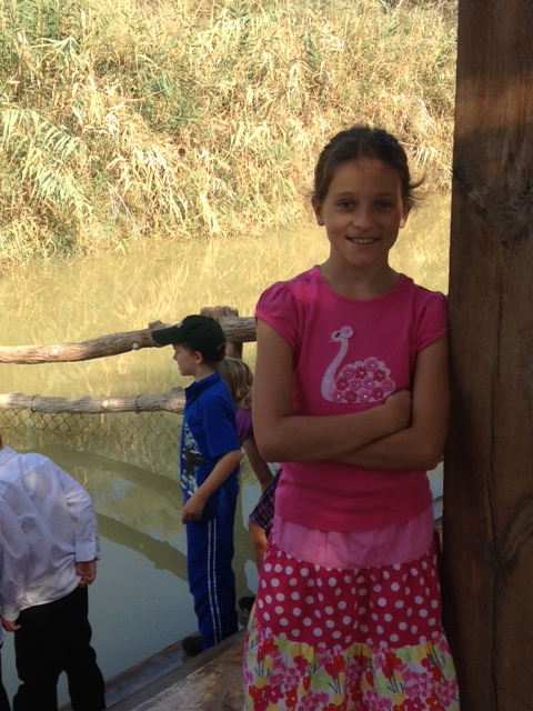 Elizabeth was not actually baptized in the Jordan River today, but notice how close we were to Israel on the opposite bank.