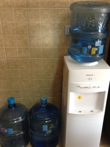 Our source of drinking water--out kitchen water cooler.