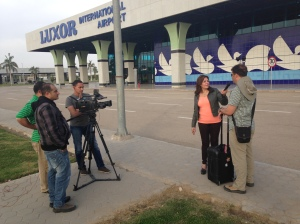 Jason and I were interviewed at the airport in Luxor about the safety of our Egyptian travels.